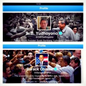 Dua akun berbeda tapi senafas, akun twitter SBY dan Obama
