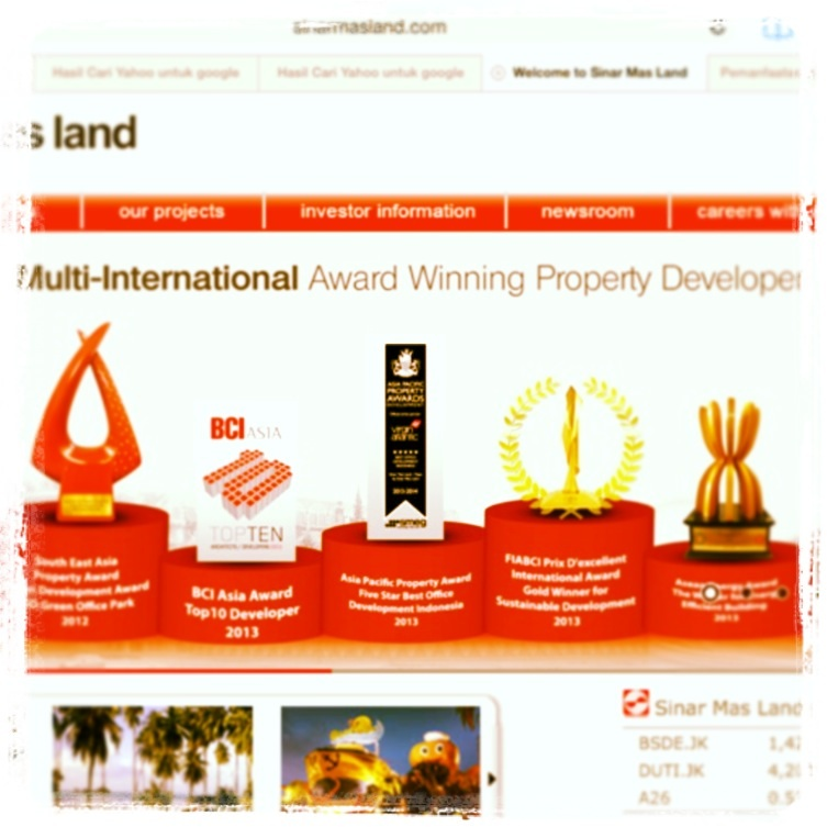 Award Bagi Sinar Mas Land (sumber: websites Sinar Mas Land)