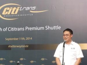 Dirut Cititrans Andrew Arristianto saat Peluncuran Premium Shuttle (foto: koleksi pribadi)