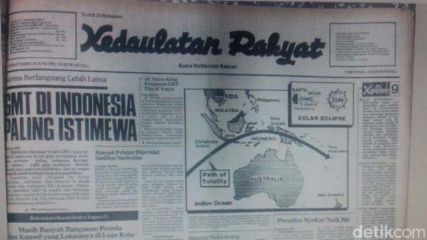 Pemberitaan gerhana matahari total di media cetak (sumber: detikcom)