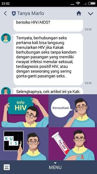 Tanya Marlo Chatbot Khusus Mengenai Hiv Aids Syaifuddin Com